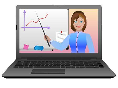 E-learning. Apprentissage à distance ou à distance à l'aide d'Internet et d'un ordinateur portable. L'enseignant donne un cours en ligne. Le professeur explique la leçon au tableau.