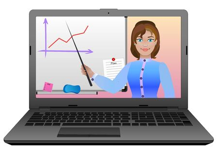 E-Learning. Fern- oder Fernunterricht mit Hilfe des Internets und eines Laptops. Der Lehrer führt eine Lektion online durch. Der Lehrer erklärt den Unterricht an der Tafel.