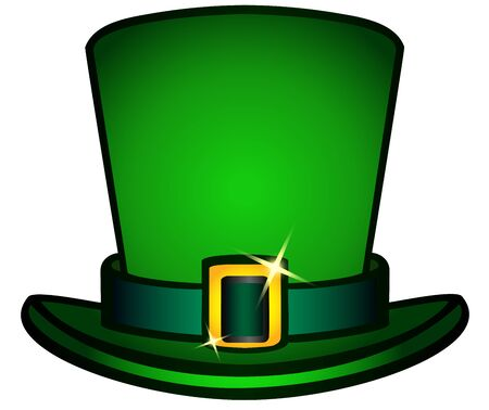 The hat is a black top hat with a strap and a golden buckle. Leprechaun hat. Symbols of St. Patrick's Day, Irish mythology, Celtic holidays. Attributes of the holiday of St. Patrick's Day. Hat isolate Foto de archivo - 134670198