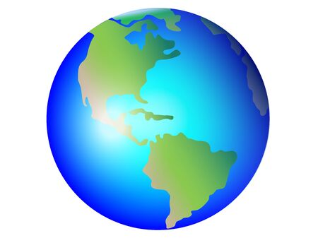 Planet Earth, globe vector image. North and South America. Central America The Atlantic Ocean and the Pacific Ocean. Green life