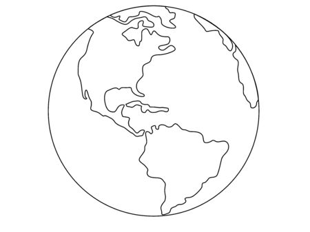 Planet Earth, globe vector linear picture. Outline North and South America. Central America The Atlantic Ocean and the Pacific Ocean. For coloring. hand drawing Çizim