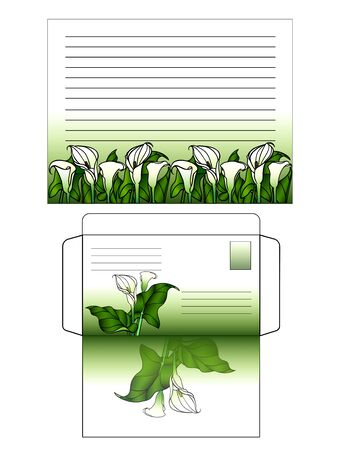 A set for writing a letter. Decorated with flowers horizontal sheet of paper and envelope. Green gradient and calla lilies. Templates