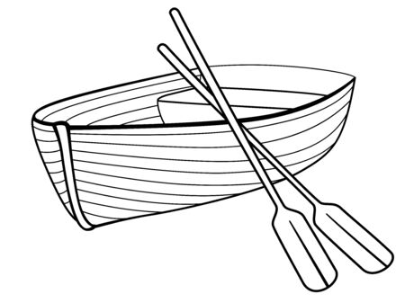 Boat with oars. Rowing boat for romantic walks on the lake or the sea. Lifeboat made of wood. Boat - linear picture for coloring. Outline vector. hand drawing Stockfoto - 134669705