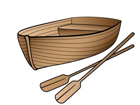 Wooden boat with oars. Rowing boat for romantic walks on the lake or the sea. Lifeboat made of wood. Boat - linear image with a gradient. Stockfoto - 134669707