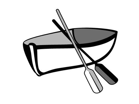 A sign- a boat with oars in black and white. Wooden boat sign. Outline Stock Illustratie