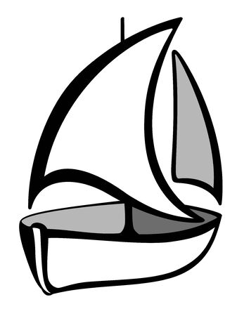 Sailboat . A sign - a boat with sails black and white. Yacht, ship sign. Outline