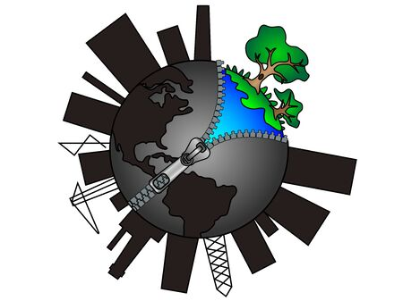 Earth globe with zipper. Global pollution concept. Ecology and nature conservation. Planet Earth is in danger. Green life Ilustração
