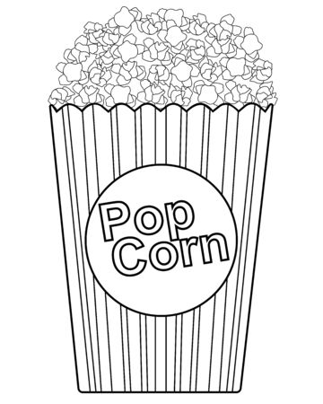 Popcorn Paper bag with the inscription - popcorn. Striped popcorn bag. Vector picture for coloring. Outline hand drawing Vettoriali
