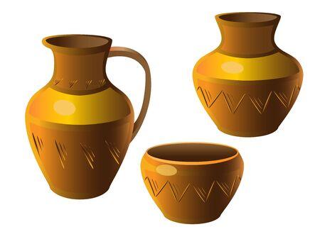 Pot. A set of pottery. Ethnic ceramics with ornament. Pottery. ceramic.