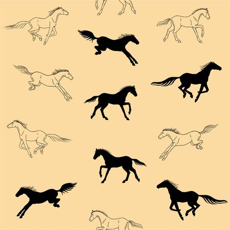 Galloping horses on a beige background - seamless pattern. Silhouettes and linear figures of running horses of black color on ivory background - vector texture for fabric or paper. Illustration