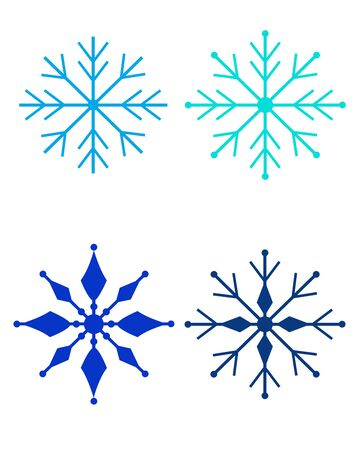 A set of four snowflakes in different shades of blue - a set of vector full-color templates or stencils - snowflakes. Illusztráció