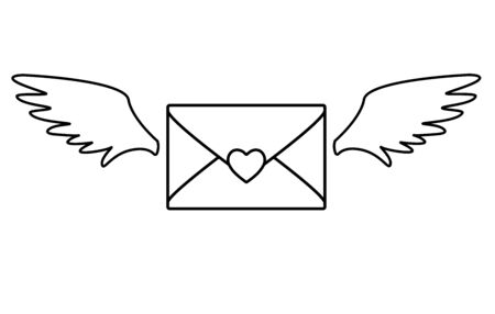Love letter. Heart-sealed envelope with angel wings. Flying envelope - Valentine. Valentine day letter - vector linear picture for coloring. Outline Hand drawing. Ilustrace
