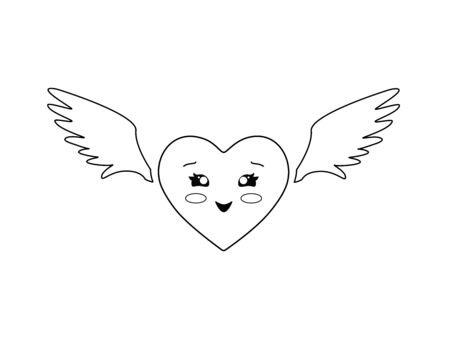 Kawaii heart with wings. Heart - Valentine with cute kawaii face and angel wings