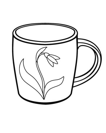 A cup with a picture of a snowdrop flower with leaves - linear vector illustration for coloring. Outline Hand drawing. Çizim