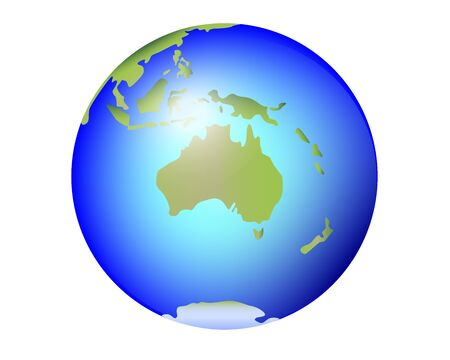 Australia, New Zealand, Tasmania on the planet Earth. Globe with continent Australia and Oceania - full color vector world map. Oceans and continents and islands. Antarctica. Иллюстрация