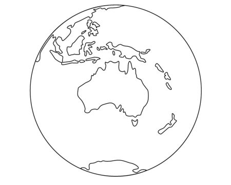 Globe with Australia and Oceania. Planet earth - oceans and continents - linear vector map illustration. Outline Continent Australia - hand drawing for coloring. Иллюстрация
