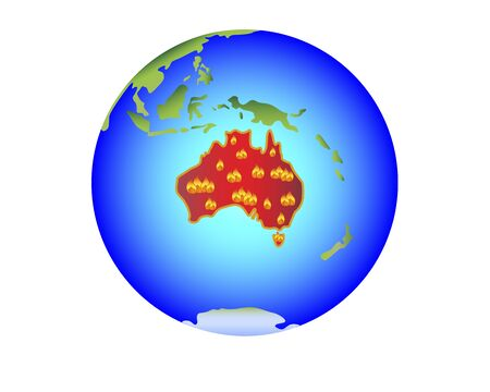 Fried in Australia. Australia on fire ecology disaster. Planet Earth with the mainland with the red and fiery mainland of Asvstralia. Globe with Australia covered in lights - stock illustration. Archivio Fotografico - 139307699
