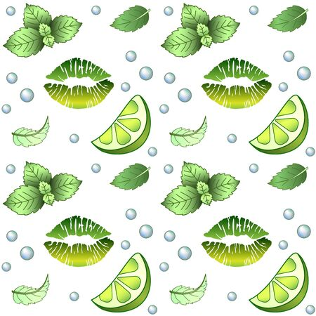 Mojito - seamless pattern. White Background with green elements - mint, lime, bulbs and lip print painted with green lipstick - a refreshing bright vector print. Green lipstick and summer drink 일러스트