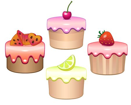 Vector Set of fruit muffins with multicolored icing. Vegan sweets - cakes with lemon, cherry, watermelon and strawberries. Summer goodies - cake, cakes with fruits and berries - sweet pastries.