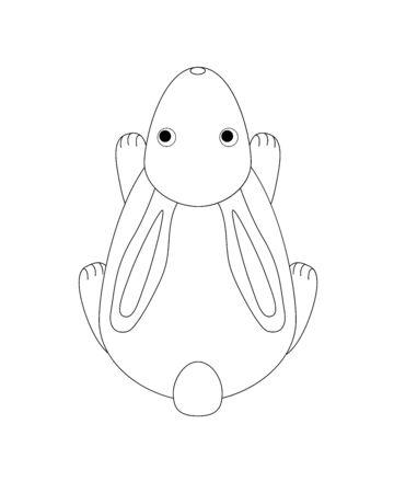Lapin à colorier. Mignon, petit lapin vectoriel - vue de dessus. Dessin linéaire pour enfants à colorier - lapin. Décrire le dessin à la main. Vecteurs