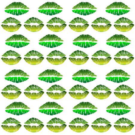 Seamless pattern - green lips. Vector background of lipsticks painted with green lipstick. Green kiss - environmental theme - seamless vector background - kisses. Archivio Fotografico - 139503087