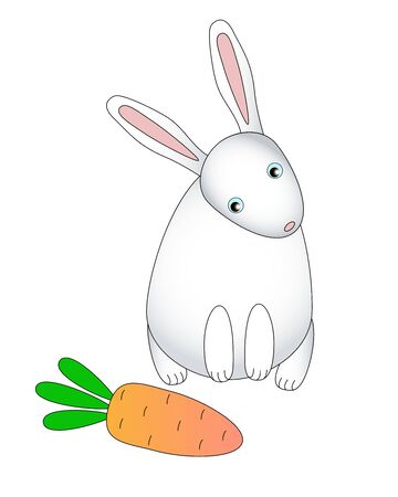 White rabbit with pink ears looks at a carrot. Long-eared hare wants to eat carrots - cute children vector illustration. Cute cartoon rabbit found a big orange carrot.