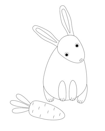 The rabbit is looking at the carrot. Long-eared hare wants to eat carrots - cute children vector illustration. Cute cartoon rabbit found a large orange carrot linear drawing for coloring. Outline