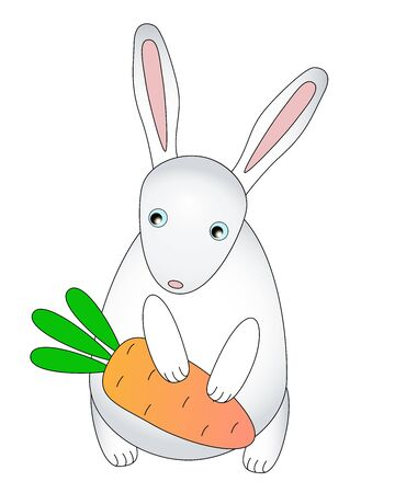 Rabbit and carrots. A small, cute, childrens bunny holds a carrot in its paws. White rabbit with pink ears and orange carrots in Scandinavian style - vector template. Ilustracja