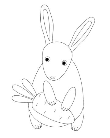 Rabbit and carrots. A small, cute, children's bunny holds a carrot in its paws. Linear vector rabbit for coloring in Scandinavian style - vector template. Outline Hand drawing. Archivio Fotografico - 138381134
