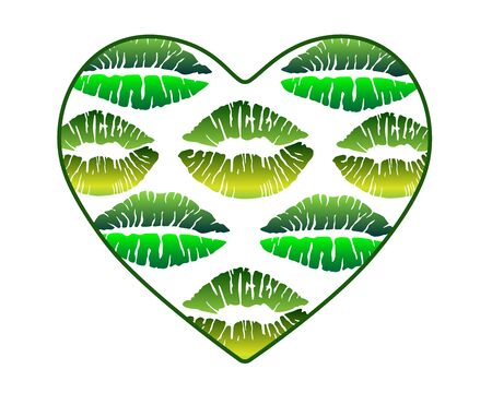A heart filled with imprints of kisses. Heart with lips in green shades - vector template for Valentines Day. A heart with green kisses is an ecology theme. Archivio Fotografico - 138426764