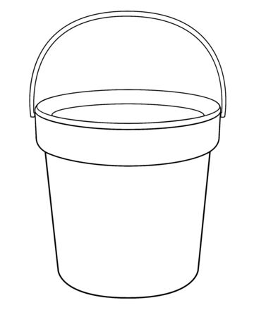 Bucket - a linear vector drawing for coloring. Plastic or metal bucket - vector template for coloring. Gardening and household equipment - bucket with handle - hand drawing. Outline Archivio Fotografico - 139822418