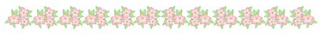 Vector Border of spring flowers. Pink and white spring flowers with green leaves. Spring separator with flowers for the design of sites, cards or banners. Archivio Fotografico - 138760472