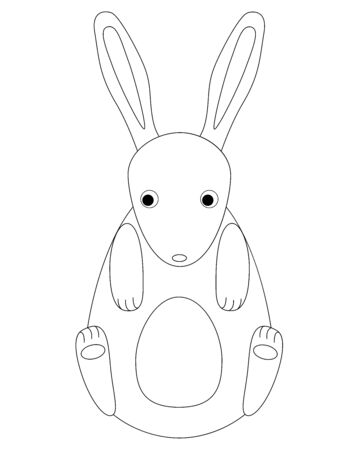 Cartoon, cute, rabbit. Toy bunny for children - linear vector design for coloring. Vector character - easter bunny. Outline Rabbit for coloring.