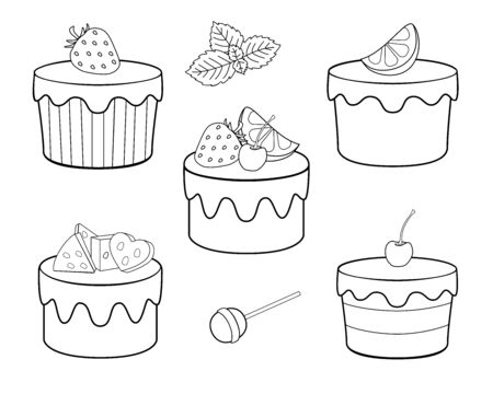 A set of sweets for coloring. Vector cupcakes, fruit cakes and sweets. Cakes with cream and icing, lemon, strawberries cherries and mint. Sweet festive pastry dessert - vector set for coloring.