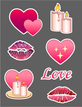 Set of vector stickers about love and romance for Valentine's Day. Stickers with hearts, romantic candles and lipstick prints. Pictures in red and pink for love letters. Archivio Fotografico - 139454260