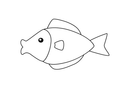 A small aquarium fish in a childrens style. Vector linear fish picture template for coloring. The inhabitants of the underwater world. Outline Hand drawing.