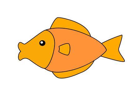 Little golden aquarium fish in a childrens style. Vector orange fish picture template. Inhabitants of the underwater world