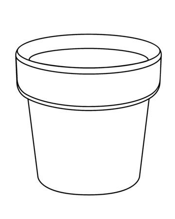 Empty flower pot - vector template. Cache-pot for indoor plants - a subject for gardening - a vector linear drawing for coloring. Outline Hand drawing