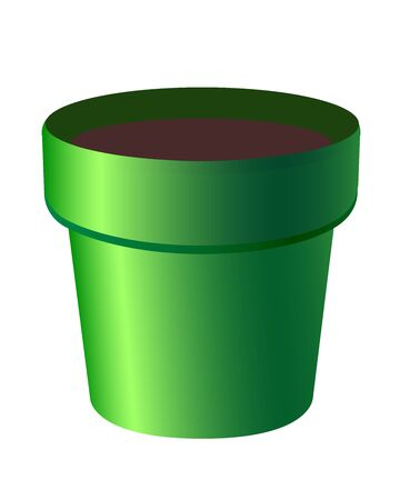 Empty green flower pot. Planter for indoor plants - a subject for gardening - vector full-color drawing.