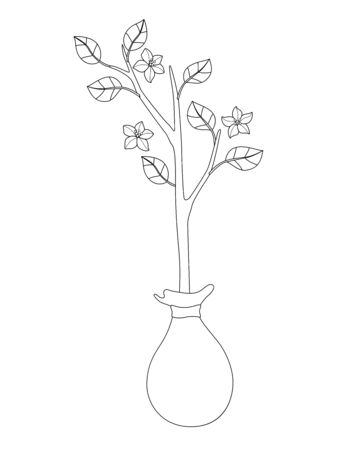 Sapling with leaves and flowers prepared for planting in the spring garden - vector linear picture for coloring. Outline Small flowering tree - template for a coloring book. Archivio Fotografico - 139822427