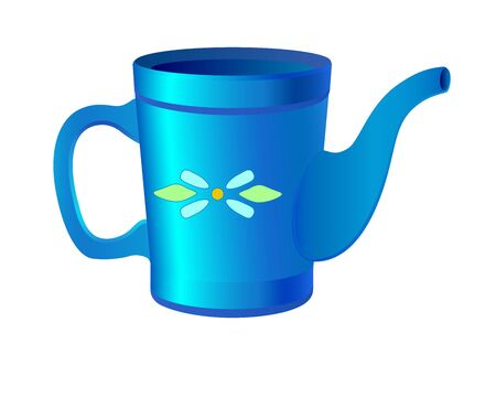 Watering can garden for watering plants. Blue watering can for indoor plants with a pattern - vector full color picture. Gardening tool - watering.  イラスト・ベクター素材