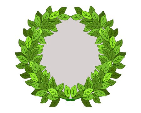 Round frame in the form of a wreath of leaves. Frame - laurel wreath - vector full-color blank with copy space for your content. Wreath frame with place for your text or images. Archivio Fotografico - 140016950