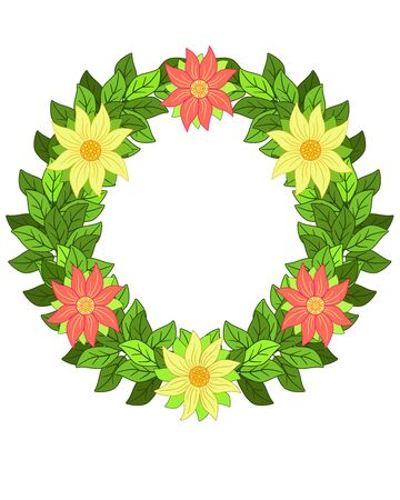 Spring wreath of leaves and flowers. Fresh summer wreath of yellow and orange flowers with leaves - vector, full color picture. Frame in the form of a bright floral wreath. Archivio Fotografico - 140017129