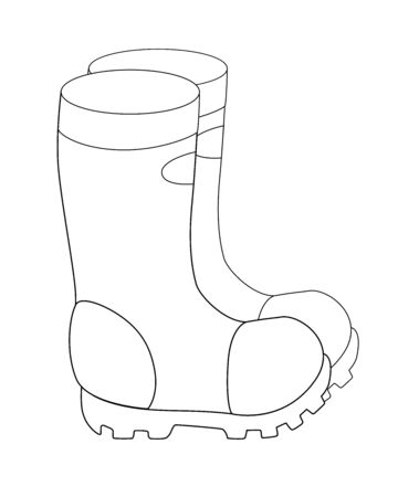 Boots Garden rubber boots with non-slip soles - a linear vector illustration for coloring. Outline Shoes for gardening or fishing. Waterproof boots Archivio Fotografico - 140154624