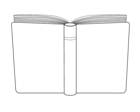 The opened book has a cover for the viewer. Book cover - vector template for coloring. Open diary or sketchbook cover with copy space for your content. Outline Illustration