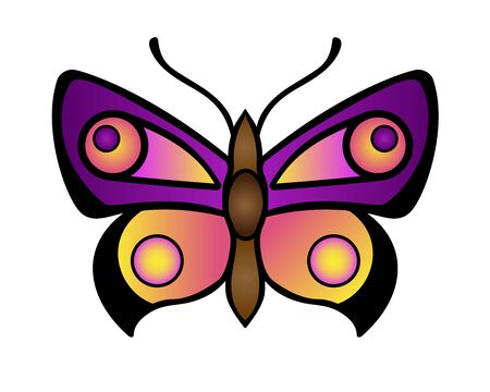 Bright, contrasting butterfly in purple, violet and pink colors. A luxurious vector butterfly insect is a symbol of spring and awakening life. Moth - vector full-color element for decoration. Archivio Fotografico - 140133151