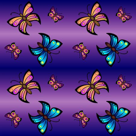 Seamless pattern with butterflies on a purple-violet background. Saturated, bright seamless pattern with butterflies in blue and pink-orange shades of different sizes. Background - flying butterflies
