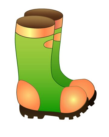 Rubber garden waterproof boots. Rubber boots for walking in the rain of green and orange on a thick non-slip sole - vector bright full-color picture. Shoes for gardening or fishing.