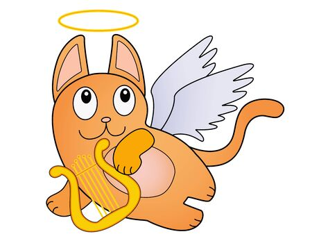 Red cartoon cat with white wings, a golden nimbus and a harp. Cat angel playing the lyre in flight. Funny cute cat - cupid - vector character.