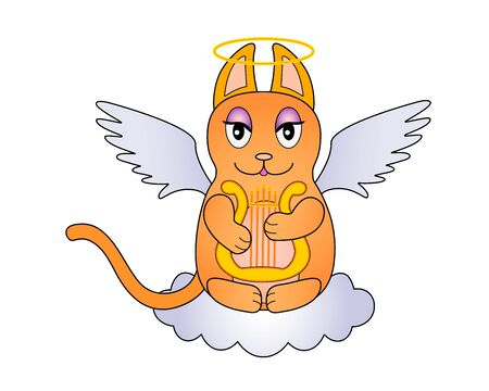 An angel cat with wings and a halo sits on a cloud and plays the harp. Red-haired cute kitty - angel plays the lyre on a cloud - vector character. Beautiful cat with angel wings and cloud.